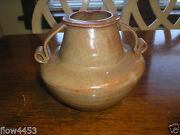 Vintage Caterina  Pottery Brown Clay  Double-Handle Vase 7 1/2 Tall  Marked #85