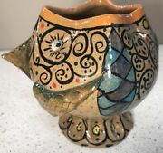 Tom Smith Studio Pottery Whimsical Fish Vase Signed Renowned Canadian Artist