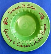 Coors Pottery Ashtray Advertising Ft. Collins Colorado Green Vintage 1940's
