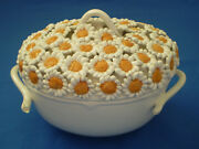 Vintage Italian Covered DISH Bowl Pot Hand Made ITALY Covered in DAISIES Flowers