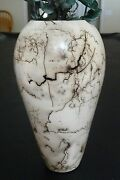 """Ceramic Vase, EJ Feller, varying shades beige to deep taupe, 10"""" tall, 5.5"""" wide"""