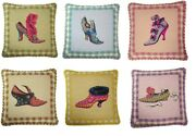 Set Of 6 Handmade Wool Needlepoint Petit Point Shoe Pillows With Cording 14x14