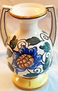 Handled 8 Inch Stoneware Vase Art Pottery Made in Spain Floral Design Numbered