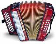Hohner Button Accordion Corona Ii Classic Ead With Gig Bag Straps Pearl Red