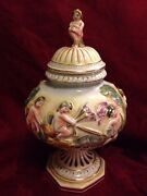 Capodimonte Vintage Covered Jar Urn With Putti