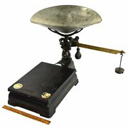 Antique Enterprise Jacob Bros. Counter Scale Cast Iron Platform And Pan W/ Weights