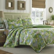 Queen Quilt Set Bedding Tommy Bahama Blue Green Tropical Cotton Coverlet S