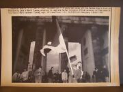 Unification Of Germany Press Wire Photo 1990 German Flag Front Brandenburg Gate