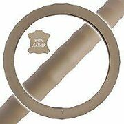 New Premium Genuine Leather Car Truck Beige Steering Wheel Cover - Small Size