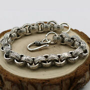Menand039s Solid 925 Sterling Silver Bracelet Link Chain Stripe Loop Jewelry 6.3-8.7