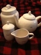 Rae Dunn Teapot,cookies,sugar And Flour Canisters And Sugar Jar And Cream Pourer