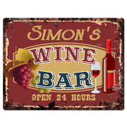 Plwb0383 Simonand039s Wine Bar Rustic Tin Chic Sign Home Store Decor Gift Ideas