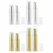 Empty Refillable Airless Lotion Pump Cosmetic Bottle Tube 5ml 10ml Gold Silver