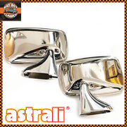 Pair Classic Polished Stainless Steel Car Door Mirrors Ford Escort Mk1 Mk2