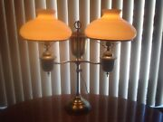 Antique Brass Double Student Lamp With Glass Shades