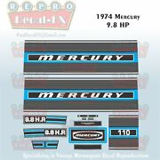 1974 Mercury 9.8 Hp Outboard Reproduction 12 Piece Marine Vinyl Decal Kit 110