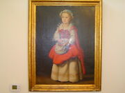 Portrait Of A Dutch Girl, Original Unsigned Oil Painting, 19th Century