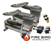 V Two Air Compressors Chrome Airmax 400 Air Suspension System Dual Pack 90/120