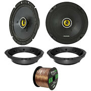 2x Kicker 6.75 2-way Car Audio Speakers Adapter 50 Ft Wire And03998-2013 Harley
