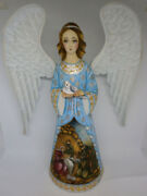 Angel With Dove The Nativity Christmas Lamb Of God Wooden Carved Hand Painted