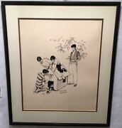 Norman Rockwell Fidoand039s Dog House Framed Signed Lithograph Print 25 X 29