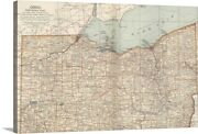 Ohio Northern Part - Vintage Map Canvas Wall Art Print Map Home Decor