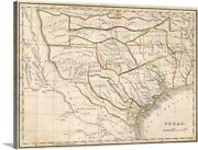 Texas Historical Map Canvas Wall Art Print Home Decor