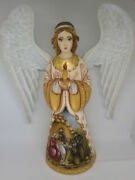 Angel With Candle The Nativity Christmas Lamb Of God Wooden Carved Hand Painted