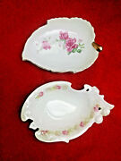 2 Trinket Dishes - White With Floral Designs - Unmarked - Very Good Condition.