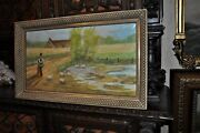 Antique Painting Oil On Canvas Allegorical Peasant Girl Feeding Chickens