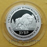 2004 Russia European Bison 1/2 Oz Silver Proof Coin Fauna Wwf Red Book Wildlife
