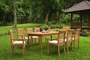A-grade Teak 9pc Dining 71 Rectangle Table 8 Mas Stacking Arm Chair Set Outdoor
