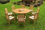 A-grade Teak 9pc Dining 60 Round Table 8 Mas Stacking Arm Chair Set Outdoor