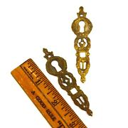 Antique Brass/bronze Escutcheon Lot Of 2 Matching Vertical Keyhole Covers French