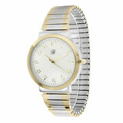 Unisex Two Tone Gold And Silver Stretch Band Classic Easy Reader Watch 8197tt