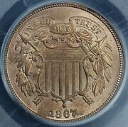 1867 2c Two Cent Piece Pcgs Ms 64 Rb