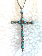 Zuni Turquoise Coral Cross 18 Silver Chain Collectible Native American Usa