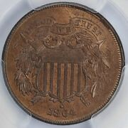 1864 2c Large Motto Two Cent Piece Pcgs And Cac Ms 65 Rb