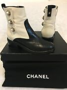Lambskin Quilted Cc Pearl Snaps Booties Ivory Black Sz35 1350