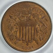 1868 2c Two Cent Piece Pcgs Ms 64 Rb