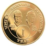 Recovery Aa Coins Alcoholic Anonymous 7 Year Gold Plate Bill And Bob Aa Medallion