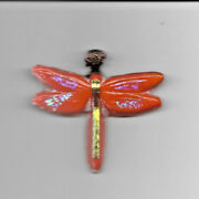 Dragon Fly Fused Orange Irridized New Sun Catcher 3.5 X 3.5 In Stained Glass