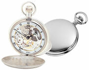 Woodford Argent Sterling Squelette Poche Montre 1066 Swiss-made Twin-lidded