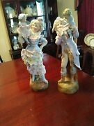 Pair Of 19th Century French Bisque Figurines In 18th Century Attire
