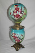 Antique Gone With The Wind Oil Lamp With Orchids  Fancy Font Ring And Base