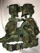 Enhanced Tactical Load Bearing Vest Woodland Camo W/belt And Holster