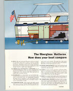 1966 Paper Ad 2 Pg Hatteras Motor Boat Yacht 41' Twin Cabin Diagram Drawing