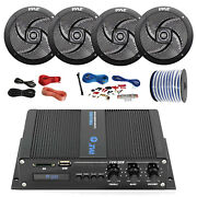 Pyle Marine 4-channel Bluetooth Amp + Kit 4x 4 Black Speakers 18-g 50 Ft Wire
