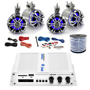 Pyle Marine 4-channel Bluetooth Amp + Kit4x 5.25 Tower Led Speakers50 Ft Wire