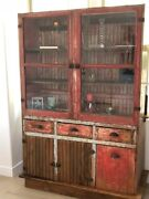 Tall Wood Antique Book Shelf With Glass Library Display Bookcase Cabinet